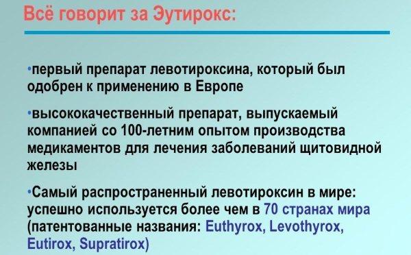 Показания Эутирокса