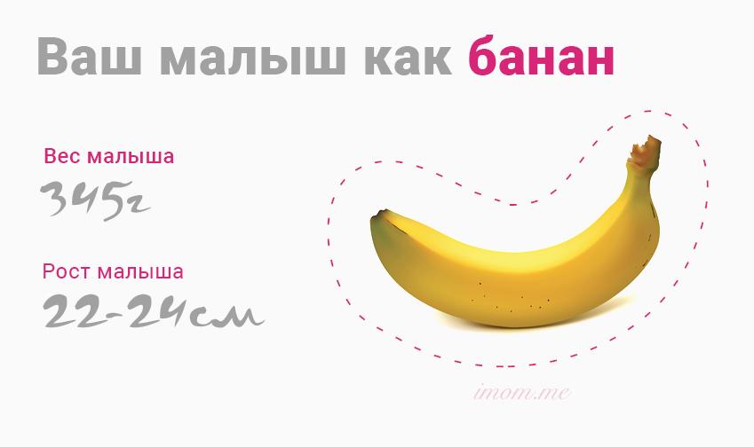 Размер как банан плод на 21 неделе