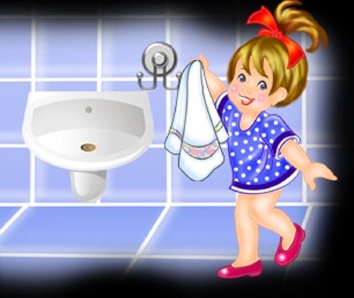 Сам вытирается полотенцем